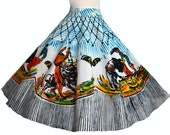 RESERVED Vintage 50s Mexican Circle Skirt // 1950s Full Skirt Amazing Bullfighting images