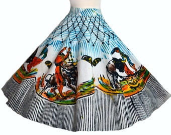 Vintage 50s Mexican Circle Skirt // 1950s Full Skirt Amazing Bullfighting images