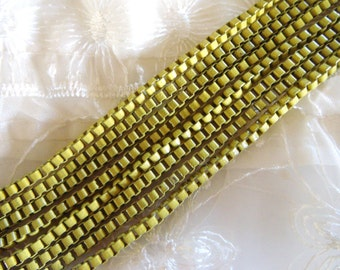 Yellow Venetian Box Chain, Stainless Steel Chain, Colored Chain 3mm- 2 Feet / 60cm approx.(1 piece)
