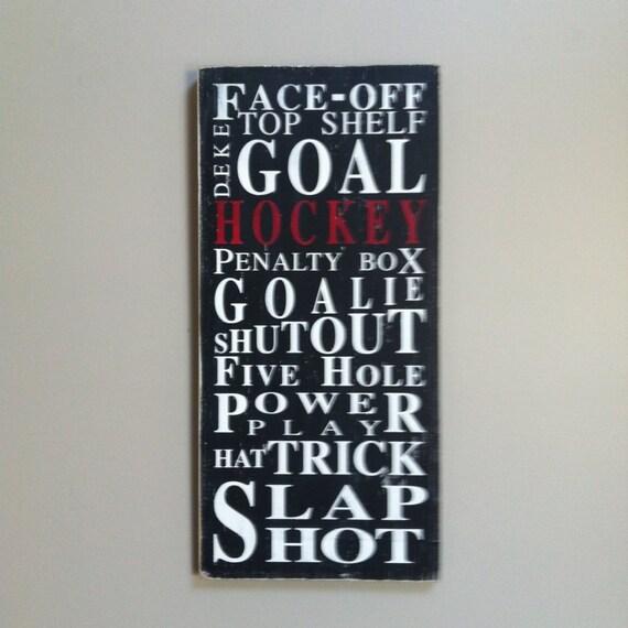 Ice Hockey - Typography Word Art Sport Sign in Black