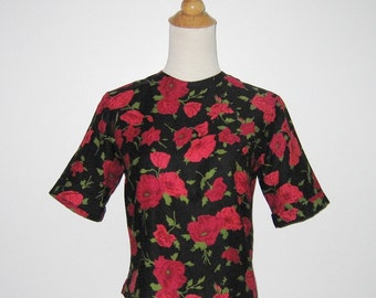 Vintage 1950s 1960s Blouse / 50s 60s Rose Print Blouse / 50s 60s Black Blouse With Red And Orange Roses By Lee Mar Of California -  S, M