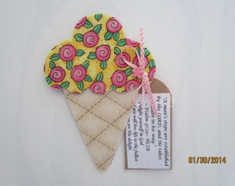 Fabric Ice Cream Cone Magnet-Mixed Media Decoration-PinkFabric Cupcake Refrigerator Magnet-Mother's Day Gift-Bible Verse-Quote