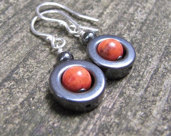 Red Coral, Hematite Loops, Sterling Silver
