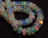 7 inches Full strand Top Quality  - WELO ETHIOPIAN OPAL - Smooth Rondell Beads Amazing Fire all strand size 4 - 5 mm approx