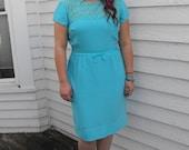 Vintage 60s Blue Dress Matching Jacket 31 Waist 41 Bust L