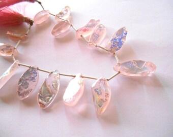 Gemstone Bead, Pendant,  Large Rose Quartz,  Dagger, Drop,AB finish flat Briolette, Unique,15-24mm