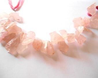 Gemstone Bead, Rose Quartz , Hammered, Shard Beads, Top Drilled Half strand, Raw  Beads,12-19mmx9-11   4 Inches
