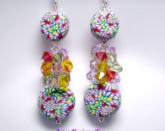 Spring Kalaidoscope...Geometric Polymer Clay Earrings in Rose,Mint,Yellow & Violet