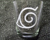 Naruto leaf village etched shot glass