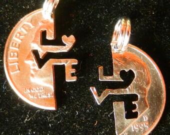 Love Interlocking Hand Cut Dime Set