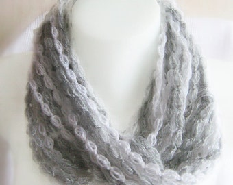 Infinity scarf, chain scarf, handmade, crochet, white and grey, soft wool, circle scarf, lady gift, light