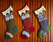 Personalized Hand Knit Fair Isle Christmas Stocking