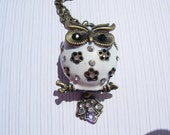 Owl Necklace, White Owl Necklace, Brass White Owl necklace