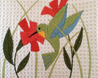 Hummingbird in Flowers (Cream) - Microfiber Waffle Weave Kitchen Hand Towel