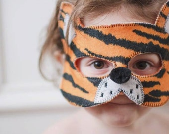 Tiger Cat Felt Mask, Animal Mask, Animal Birthday Party Favors, Children's Halloween Costume, Adult Mask
