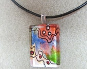 SALE Dots, swirls, Pendant, Glass Tile, original watercolor, Necklace, Abstract, pick size modern, OOAK, Red, Design,