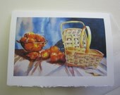 Just Peachy, 5 x 7 note card watercolor print WatercolorsNmore