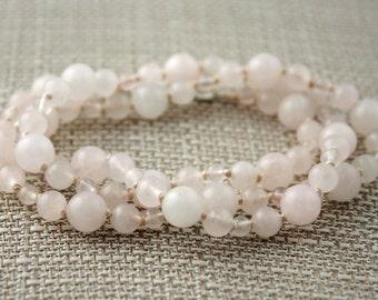 Rose Quartz Silk Knotted Necklace