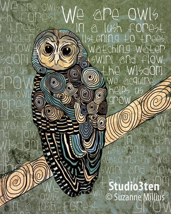 The Wisdom We Acquire / Owl / original illustration ART Print SIGNED /  8 x 10