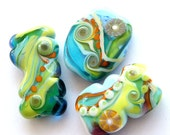 Bright Handmade lampwork beads - special  shapes by bindu