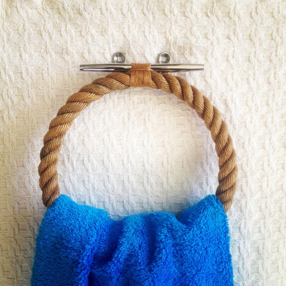 Large bath or pool towel holder varnished nautical rope on for Large nautical rope