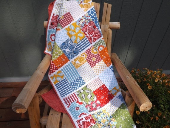 Baby Quilt Gender Neutral Modern Patchwork Red Blue Green Gender Neutral Treasures and Tidbits Baby Quilt