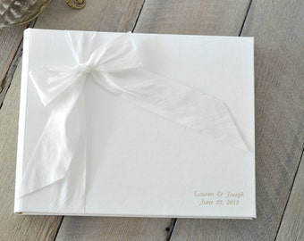 Wedding Scrapbook Guest - Wedding Guest Books - Silk Dupioni Bow by Claire Magnolia