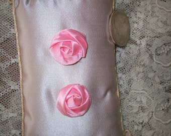 "1 Exquisite french antique Ribbon work flower in pink 3/4"" size"