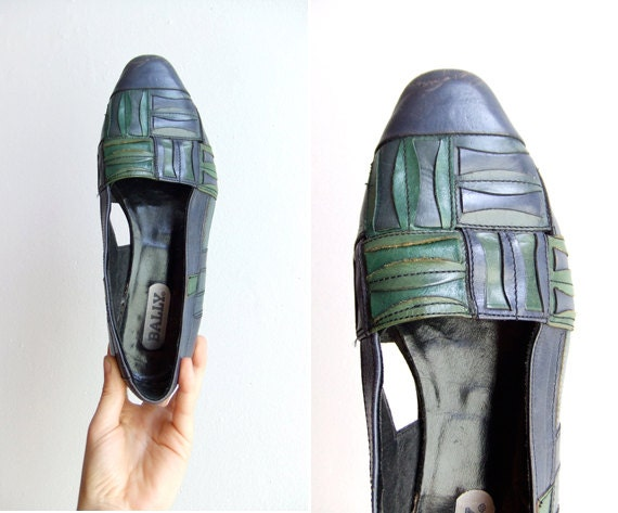 FINAL SALE / vintage 1980s BALLY woven leather flats / 6.5