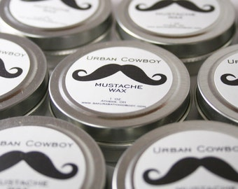 Urban Cowboy Mustache Wax or Beard Wax - Respect the Mustache - Facial Hair Styling Product - Pick Your Scent - Valentine's Gift