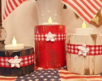 Rustic Patriotic Wood Candle Holders