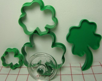 Shamrocks St Patricks Day Cookie Cutters, Glass Stamp 5 Pieces