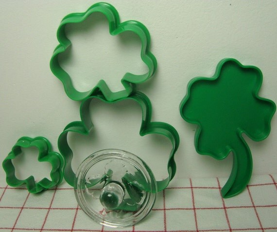 Shamrocks St Patricks Day Cookie Cutters Glass Stamp 5 Pieces