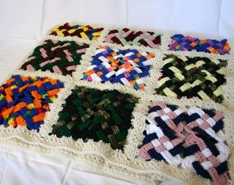 Crocheted Celtic knot afghan off white border granny square throw scrap yarn blanket colorful home decor lap couch coverlet bedding washable