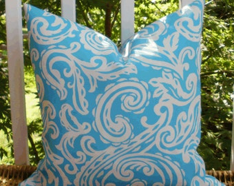 Decorative Outdoor Pillow ~ 18 X 18 Outdoor Pillow Cover in Turquoise and White Paisley...Home and Living