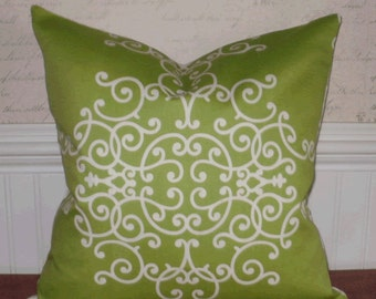 SALE ~ Decorative Pillow Cover: Scroll Fretwork Design 18 X 18 Accent Throw Pillow Cover in Lime