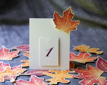 Fall Wedding Table Decoration - Table Number Tents - Autumn Wedding - Red Maple leaves Watercolor