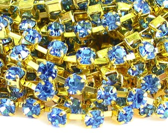 3 feet SAPPHIRE blue 3mm 12SS Rhinestone gold plated brass chain trim - middle east stone - 36 inches