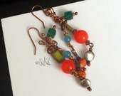 Everyday People Boho Earrings, Hippie Earrings, Copper Jewelry, Orange Jade Green Emerald Orange Blue Earrings, Hippie Jewelry