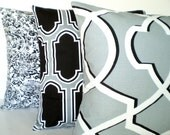 Gray Black Pillow Covers, Decorative Pillows, Cushion Covers, Cool Grey Black Off White Shiloh Fargo Morrow - Combo Set of Three 18 x 18