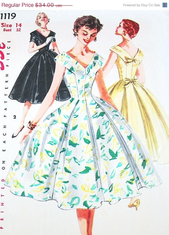 On Sale Vintage 50s Dress Pattern - Simplicity 1119 - Misses' One-Piece Dress - SZ 14/Bust 32