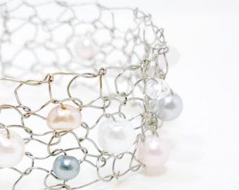 rose quartz bracelet romantic jewelry for girlfriend skinny cuff bracelet pearl cuff bracelet delicate bracelets wife pink jewelry