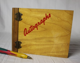 Wooden Autograph Book Hinged Cover Nice rustic wood grain
