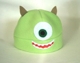 Monsters Inc Univeristy Mike Wasowski inspired fleece hat for baby 9-12 months