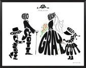 Personalized Blended Family Wedding Silhouette Print - Framed 11x14 Wedding Name Art Decor