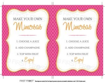 "Monograms & Mimosas Printable Mimosa Bar Signs (5""x7"") INSTANT DOWNLOAD"