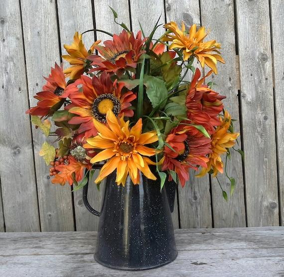 Fall flower arrangement autumn silk flowers sunflowers