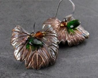 Eco friendly silver leaf earrings, handmade chrome diopside and hessonite garnet earrings-OOAK