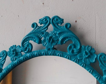 Turquoise Oval Mirror in Vintage Ornate Frame - 15 by 11 Inches