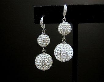 Christmas prom wedding bridal earrings bridesmaid gift party Swarovski clear white crystal rhinestone double ball drop silver cz deco hook